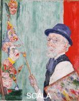 Ensor, James (1860-1949) Self-Portrait with Masks, 1937