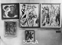 ******** Exhibition of 'degenerate art' (entartete Kunst) at the Hofgarten gallery in Munich (opened on July 19th, 1937). Above and below, left to right, following works to be seen: Christ and the Sinner by Emil Nolde; Deposition, and Christ and the adulterous Womano by Max Beckmann; The Temptation of St. Anthony by Thalheimer; The Three Kings by Emil Nolde