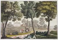 Fumagalli, Paolo (sec. XIX) George Washington's House at Mount Vernon, Virginia, USA, c1820-1839. This plantation on the banks of the Potomac River was inherited by George Washington from his sister-in-law in 1759. Washington had the house rebuilt as it appears today and operated the estate as five separate farms. After the War of Independence he returned to Mount Vernon and resided there for a considerable amount of time during his two terms as President. After Washington's death the fortunes of the estate declined until, in 1860 it was acquired by the Mount Vernon Ladies' Association of the Union, who restored it. Today Mount Vernon is a popular tourist attraction. Plate 39 from 'Le Costume Ancien et Moderne', by Jules Ferrario.
