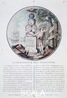 Roger L. (sec. XVIII) Independence of the United States, 1786. French allegory commemorating the friendship between France and the United States and the assistance given by France in support of the US gaining its independence. With portraits of Louis XVI of France, Benjamin Franklin and George Washington