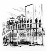 ******** Hanging of the Lincoln assassination conspirators, Washington DC, USA, 7th July, 1865. The assassinination of President Abraham Lincoln by John Wilkes Booth was part of a wider conspiracy. Vice-President Andrew Johnson and Secretary of State William H Seward were also intended to be killed, but survived the attempts on their lives. Booth was killed by US Army soldiers in Virginia, but eight others involved in the conspiracy were arrested and tried by a military court. All the defendants were found guilty, with three sentenced to life imprisonment and one receiving a six year sentence. The other four, Mary Surratt, Lewis Powell, David Herold, and George Atzerodt, were sentenced to death and were hanged at the Old Arsenal Penitentiary.