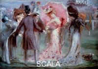 Anquetin, Louis (1861-1932) Belle epoque : 'Le pesage' Des hommes examinant des jeunes femmes avec insistance aux courses de chevaux. 20th cent.