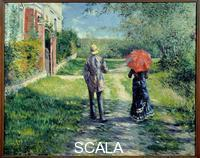 Caillebotte, Gustave (1848-1894) Chemin montant. Couple se promenant dans la campagne. 19th cent.