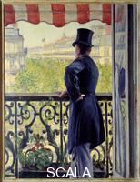 Caillebotte, Gustave (1848-1894) L'homme au balcon Un homme elegant en chapeau haut de forme appuye sur la rambarde d'un balcon sur les grands boulevards parisiens. 1880