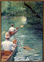 Caillebotte, Gustave (1848-1894) Les perissoires. Couple se promenant dans l'eau dans des perissoires, sorte de kayak (The Canoes). 1878