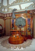 Mucha, Alphonse (1860-1939) Decor interieur de la boutique du bijoutier Georges Fouquet (1862-1957) a Paris : comptoir en bois d'acajou orne de Sculptures de paons en bronze. 1901