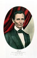 ******** Abraham Lincoln (1809-65), c1865. Artist: Currier & Ives Abraham Lincoln (1809-65), c1865. Lincoln, a Republican, became 16th President of the USA in 1860. On Good Friday, 14 April 1865, while at Fords Theatre, Washington, he was shot by John Wilkes Booth and died the following morning.