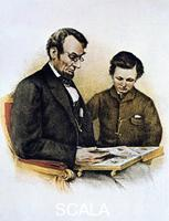 ******** Abraham Lincoln and his son Tad, 9 February 1864.  Abraham Lincoln and his son Tad, 9 February 1864. Lincoln (1809-1865) was the sixteenth President of the United States of America (1861-1865). On Good Friday, 14 April 1865, while at Fords Theatre, Washington, he was shot by John Wilkes Booth and died the following morning. His son Thomas, also known as Tad (1853-1871), died at the age of 18, probably of tuberculosis.