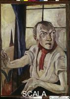 Beckmann, Max (1884-1950) Self Portrait with Red Scarf, 1917