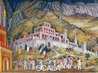 O'Gorman, Juan (1905-1982) Effective vote - No Re-election (Sufragio effectivo - no reeleccion), detail with marching peasants. Mural.