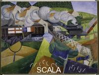 Severini, Gino (1883-1966) Red Cross Train Passing a Village. Summer 1915