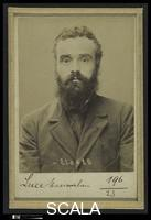 Bertillon, Alphonse (1853-1914) Luce, Maximilien. 36 ans, ne le 13/3/58 a Paris VIIe. Artiste-peintre. Anarchiste. 6/7/94; [Mugshots of Suspected Anarchists from French Police Files]. Mugshot (recto), 1894