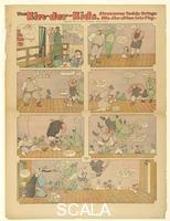 Feininger, Lyonel (1871-1956) The Kin-der-Kids: Strenuous Teddy Brings his Jiu-Jitsu into Play', comic strip from The Chicago Sunday Tribune, August 26, 1906