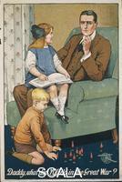 ******** Regno Unito, XX secolo, Prima Guerra Mondiale - 'Daddy, what did you do in the Great War?' Manifesto per il reclutamento di Savile Lumley (attivo 1910-1950), 1914