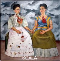 Kahlo, Frida (1907-1954) Les deux Fridas Double autoportrait de l'artiste avec le coeur visible. Peinture de Frida Kahlo (1907-1954) 1939 Dim. 173,5x173 cm Mexico city, musee d'art moderne, Mexique