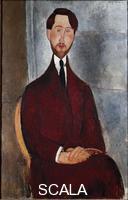 ******** Leopold Zborowski. Portrait de Leopold Zborowski (1889-1932), poete et marchand d'art polonais. Peinture de Amedeo Modigliani (1884-1920), 1917. Huile sur toile. Museu de Arte, Sao Paulo, Brazil (Bresil)