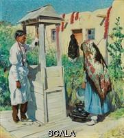 ******** Ufer, Walter (1876-1936). A Pueblo Well Scene.