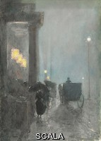 Hassam, Childe (1859-1935) Hassam, Frederick Childe (1859-1935). Fifth Avenue, Evening. c.1890-93