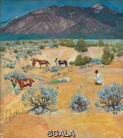 ******** Ufer, Walter (1876-1936). Taos Landscape with Indians.