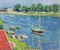 Caillebotte, Gustave (1848-1894) Caillebotte, Gustave (1848-1894). The Seine at Argenteuil, Boats at Anchor; La Seine a Argenteuil, bateaux au mouillage. 1883