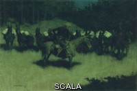 ******** Scare in a Pack Train. Frederic Remington (1861-1909). Oil on canvas. Painted in 1908. 68.6 x 1091.6cm.