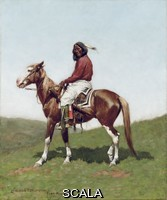 ******** Comanche Brave, Fort Reno, Indian Territory. Frederic Remington (1861-1909). Oil on canvas. 24 x 20 In (61 x 50.8 Cm).