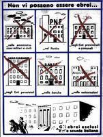 ******** Vignette antisemite publiee dans 'La difesa della razza' illustrant les interdictions imposees aux Juifs au moment de l'entree en vigueur des lois raciales: il ne peut y avoir de Juifs dans les administrations civiles et militaires, dans le Parti, dans les banques, dans les assurances. Les Juifs sont exclus de l'Ecole italienne