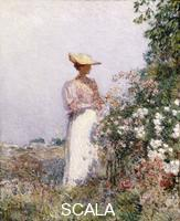 Hassam, Childe (1859-1935) Hassam, Frederick Childe (1859-1935). Lady in Flower Garden.