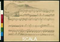 ******** Voyage album - page 51 - Autograph transcription by Fanny Hensel and Vignette by Wilhelm Hensel, 1839-40