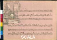 ******** Voyage album - page 75 - Autograph transcription by Fanny Hensel and Vignette by Wilhelm Hensel, 1839-40