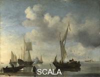 Velde, Willem van de il Giovane (1633-1707) Dutch Vessels lying Inshore in a Calm, one Saluting, 1660