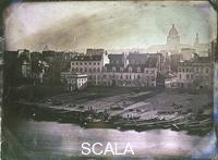 Hossard, Paul Michel (1788-1862) Parigi, le rive della Senna col Pantheon sullo sfondo, 1843