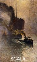 Claus, Emile (1849-1924) In Tow on the Thames in the Fog; Escorte sur la Tamise dans le Brouillard - Op Sleeptouw Genomen op de Theems. 1918