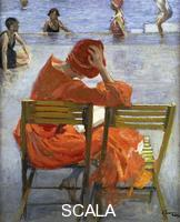 ******** Lavery, Sir John (1856-1941). Girl in a Red Dress, Seated by a Swimming Pool. 1936