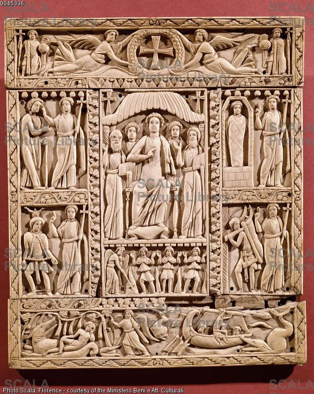 ******** Gospel cover called 'Murano Diptych', from Alexandria (Egypt), 5th-6th century, depicting Christ Enthroned and His Miracles
