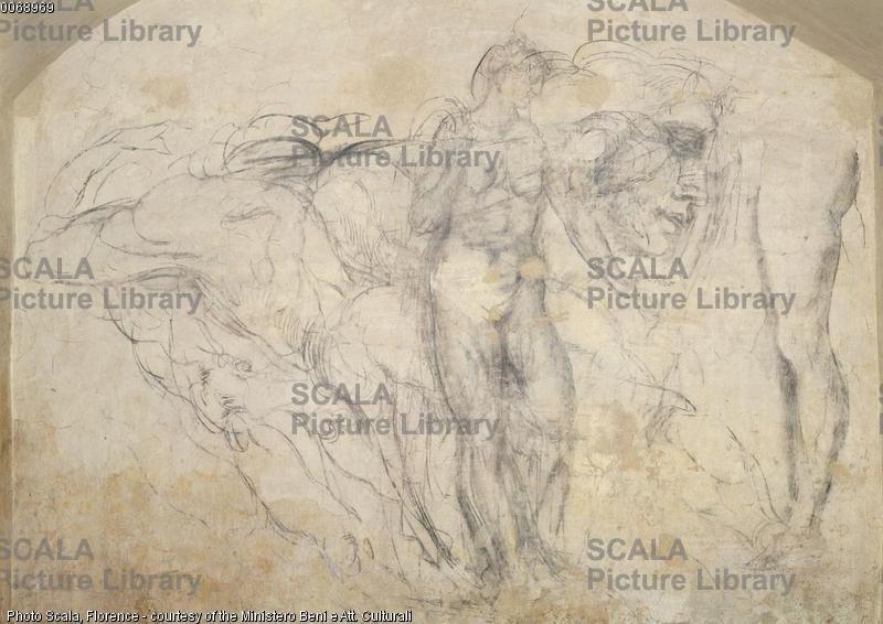 Michelangelo (Buonarroti, Michelangelo 1475-1564) Studio di figure allegoriche per le tombe dei Medici, 1530