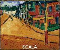 ******** Une rue a Marly-le-Roi (Marly le Roi). Peinture de Maurice de Vlaminck (1876-1958), 1905. Huile sur toile. Dim : 54x65cm Paris, Musee national d'Art moderne, Centre Georges Pompidou