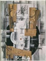 Braque, Georges (1882-1963) Compotier et cartes, 1913, Huile sur toile, fusain et crayon, 81 x 60 cm, Musee national dArt moderne, Paris