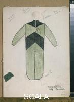 Rodchenko, Alexander (1891-1956) Costume sketch for male character in Mayakovsky's 'The Bedbug,' 1920s