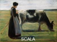 ******** Girl with Cow', 19th century. Found in the collection of the State A Pushkin Museum of Fine Arts, Moscow. Artist: Max Liebermann
