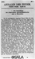 ******** The basis of the general theory of relativity by Albert Einstein (Nobel Prize for Physics in 1921). From: Annals of Physics. Fourth episode. Band 49th 1916
