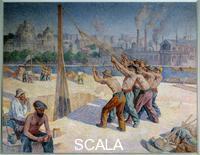 Luce, Maximilien (1858-1941) Les batteurs de pieux sur le quai de la Seine a Billancourt. 1903