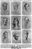 ******** Stephen Ward's sketches of celebrities, 1960. Through a doctor's eyes: a page of celebrities drawn by osteopath and gifted amateur artist Doctor Stephen Ward(1912-1963), as featured in The Illustrated London News in 1960. The sketches pictured here were d