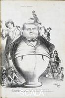 ******** Camillo Benso, Count of Cavour, cartoon from a drawing by Redenti from Il Fischietto magazine, Turin, October 13, 1860. Italy, 19th century.