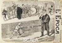******** The chameleon Depretis and the next election, satirical cartoon from L'Epoca, September 21, 1882. Italy, 19th century.