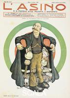 ******** Under the frock-coat of Mr Giolitti, satirical cartoon published in the periodical The ass of June 3, 1906. Italy, 20th century.