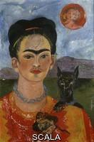 Kahlo, Frida (1907-1954) Self Portrait with Ixcuintle dog and sun. 1953-1954.