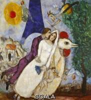 Chagall, Marc (1887-1985) Les maries de la Tour Eiffel, 1938