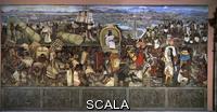 Rivera, Diego (1886-1957) Murales con la grande città di Tenochtitlan, 1945 - particolare