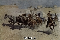 Remington, Frederic (1861-1909) Caravana De Pioneros Atacados Por Los Indios - Siglo Xix. Author: Remington, Frederic.